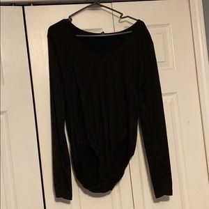 black long sleeve full coverage bodysuit